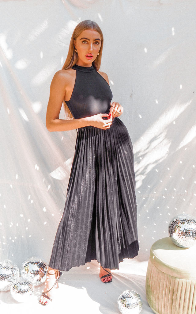 Luisa Black Velvet Belted Pleated Maxi Dress by Style Cheat