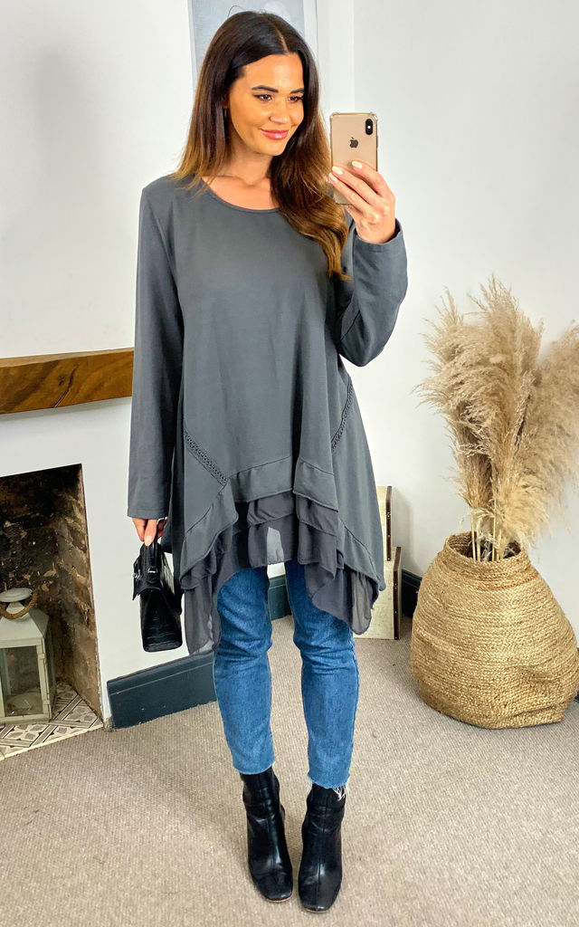 ALANNAH Tiered Chiffon Hem Top In Grey by Blue Vanilla