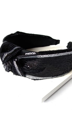 Black and Silver Sequin Knot Headband by Olivia Divine Jewellery