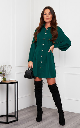Maeve Pleated Waist Detail Shirt Dress Emerald by Girl In Mind Product photo