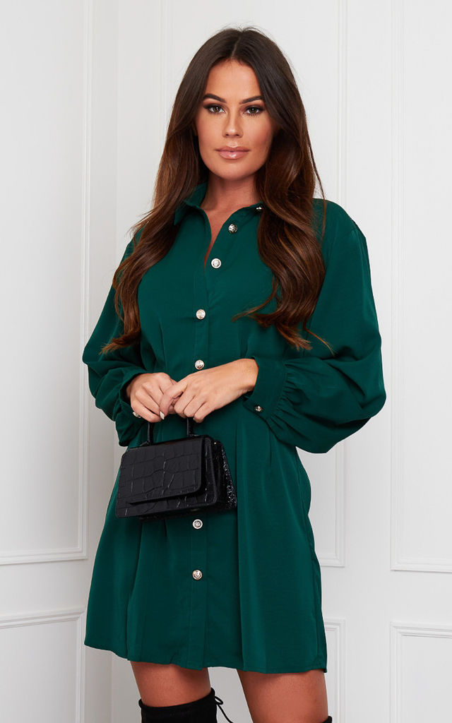 Maeve Pleated Waist Detail Shirt Dress Emerald by Girl In Mind