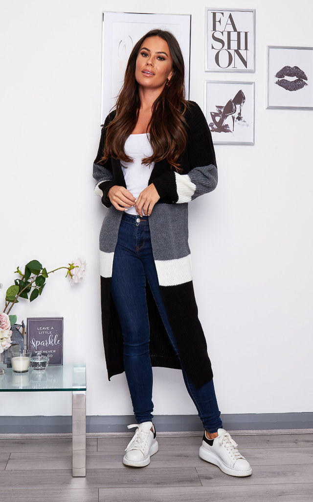 Maxine Longline Striped Cardigan Black by Girl In Mind