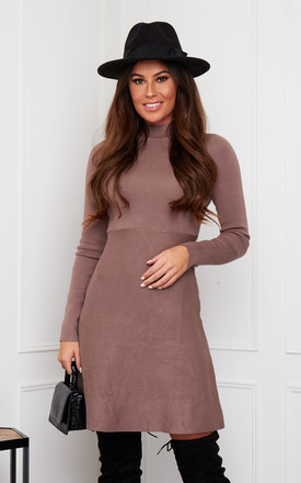 Ida High Neck Knitted Skater Dress Mocha by Girl In Mind Product photo
