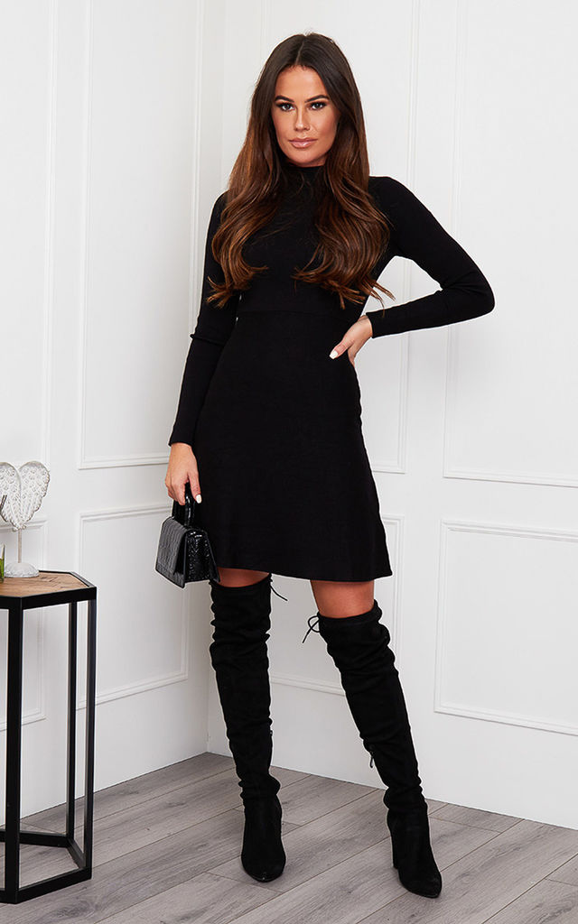 Ida High Neck Knitted Skater Dress Black by Girl In Mind