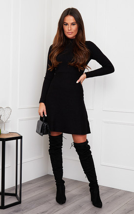 Ida High Neck Knitted Skater Dress Black by Girl In Mind Product photo