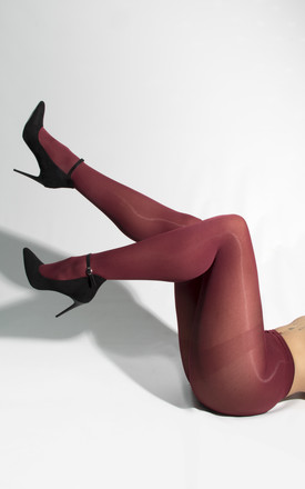 50 Denier Opaque Tights in Burgundy by PM TIGHTS