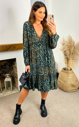Amelie Abstract Animal Tiered Long Sleeve Dress In Khaki by Blue Vanilla Product photo