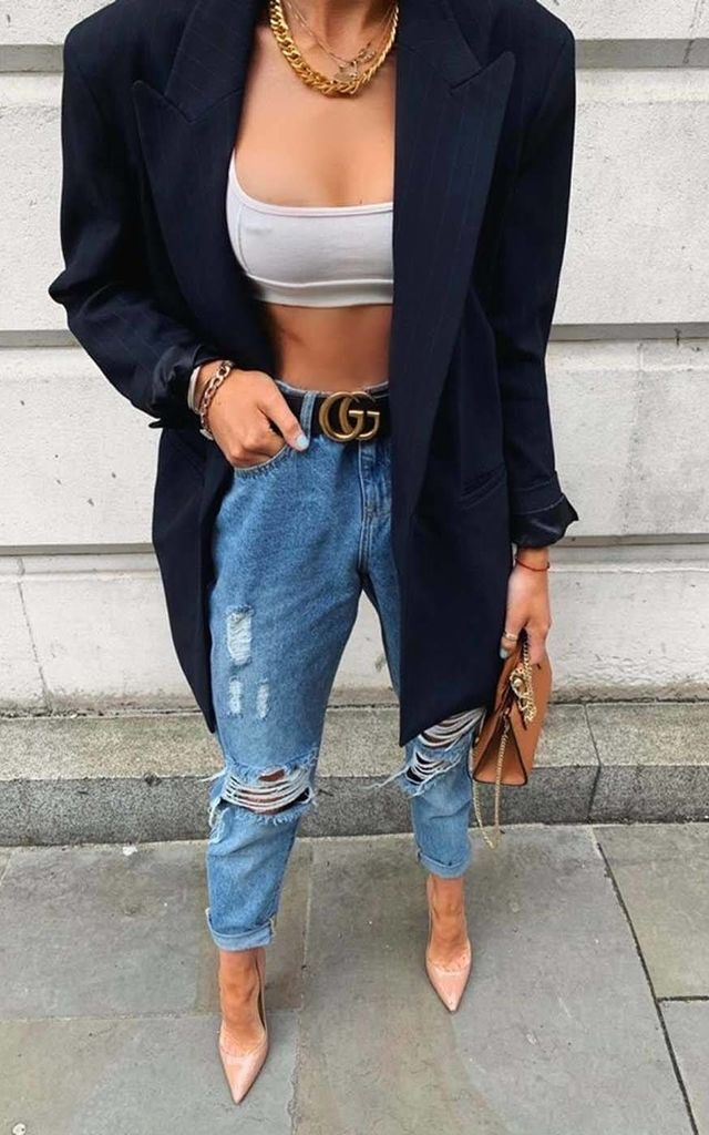 Mid-Blue Elliott Ripped Mom Jeans by Urban Bliss