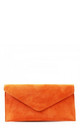 Real suede orange leather envelope clutch bag by Hello Handbag