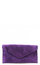 Real suede purple leather envelope clutch bag by Hello Handbag