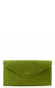 Real suede olive green leather envelope clutch bag by Hello Handbag