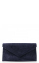 Real suede navy blue leather envelope clutch bag by Hello Handbag