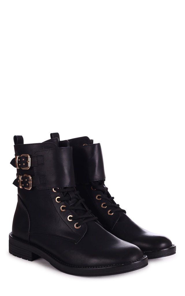 Leader Black Nappa Lace Up Military Style Boot With Double Gold Buckle Detail by Linzi