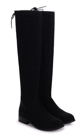 Sadie Black Suede Over The Knee Flat Suede Boot with Tie Up Back by Linzi