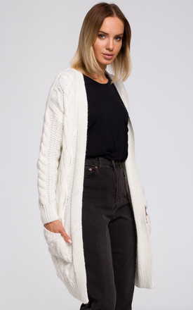 Open Front Cardigan with Pockets in Ecru by MOE
