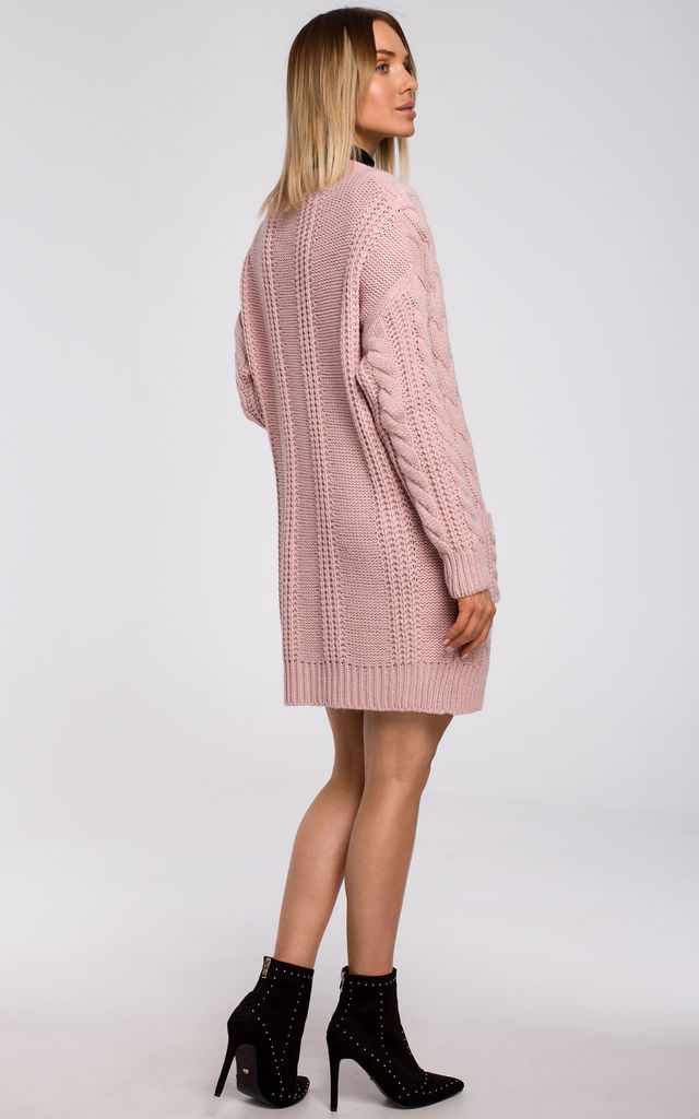 Open Front Cardigan with Pockets in Pink by MOE
