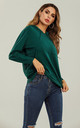 Wool Blended Hoodie Jumper Top In Dark Green by FS Collection