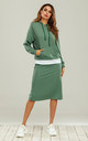 Tracksuit Hoodie Top With Pencil Skirt In Green by FS Collection
