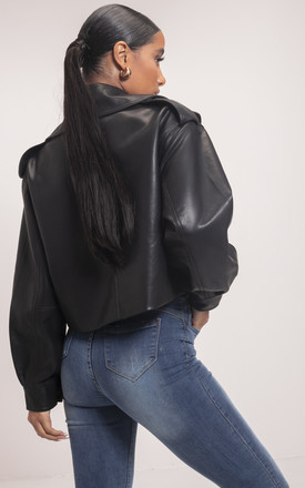 Oversized PU Metal Ring Strap Crop Biker Jacket Black by LILY LULU FASHION