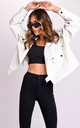 Oversized PU Metal Ring Strap Crop Biker Jacket White by LILY LULU FASHION
