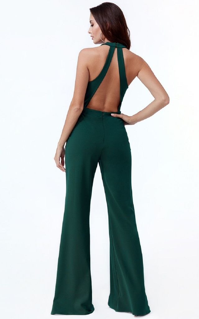 Green Sleeveless Open Back Jumpsuit with Halter Neck and Flared Leg by Malanna Fashion