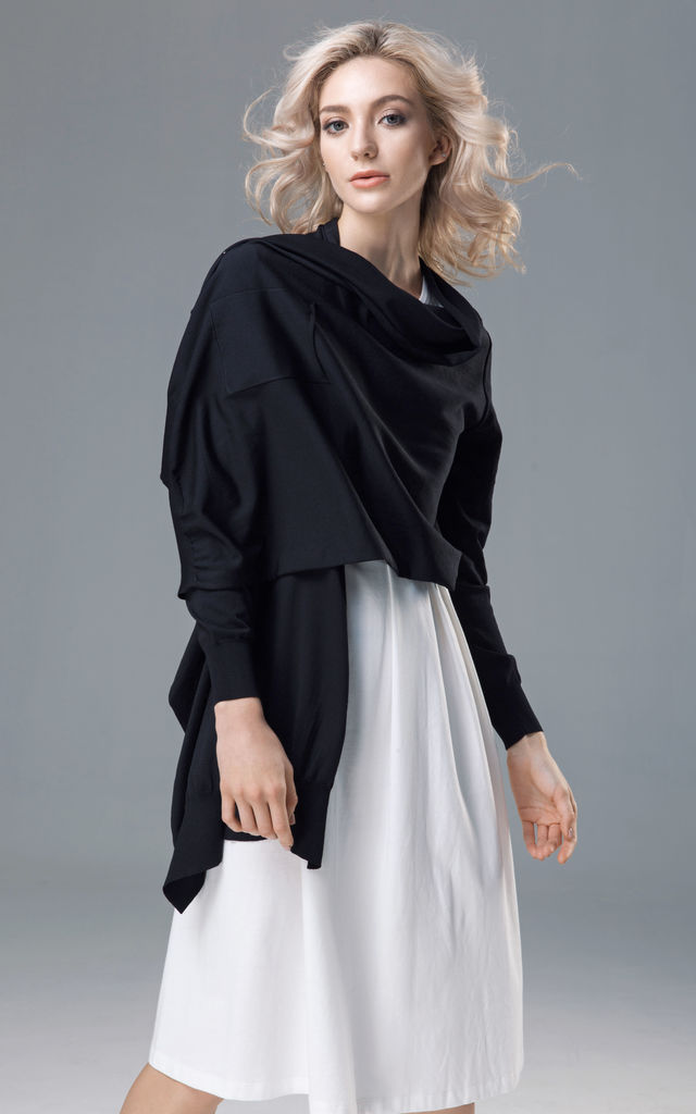 Knitted Black Wrap Cardigan by Voya