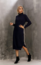 Wool Blended Jumper Dress With High Neck In Black by FS Collection