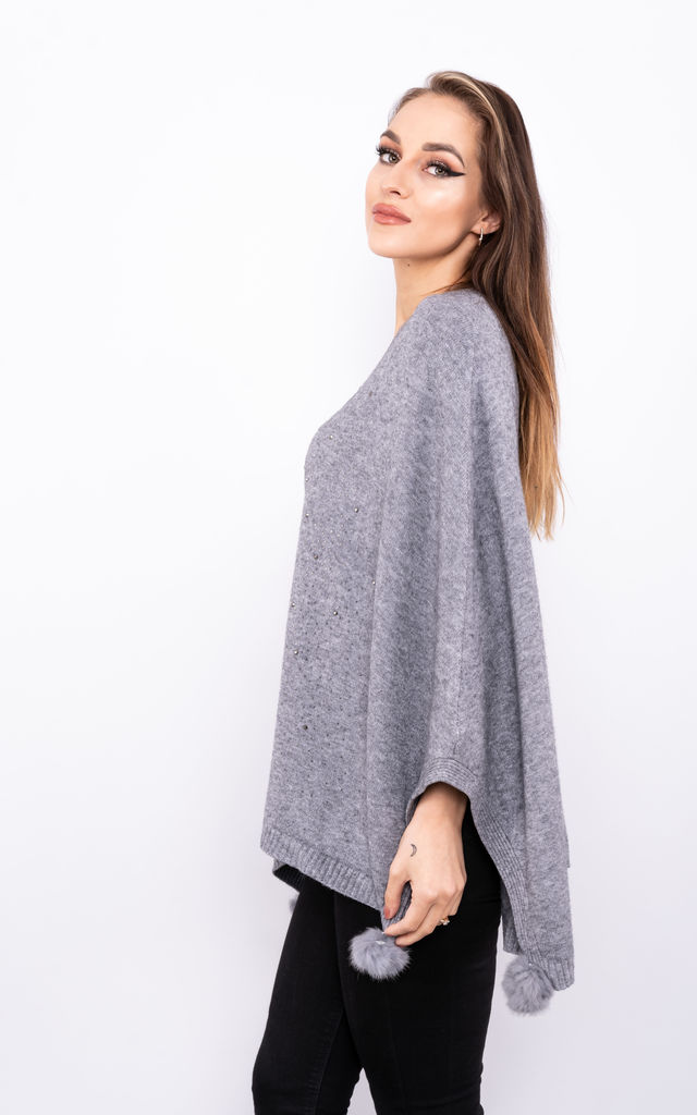 Sparkle Embossed Smart Poncho (Grey) by Lucy Sparks
