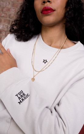 Off White Embroidered Sweatshirt 'You Are Magic' Cuff Detail by Rock On Ruby