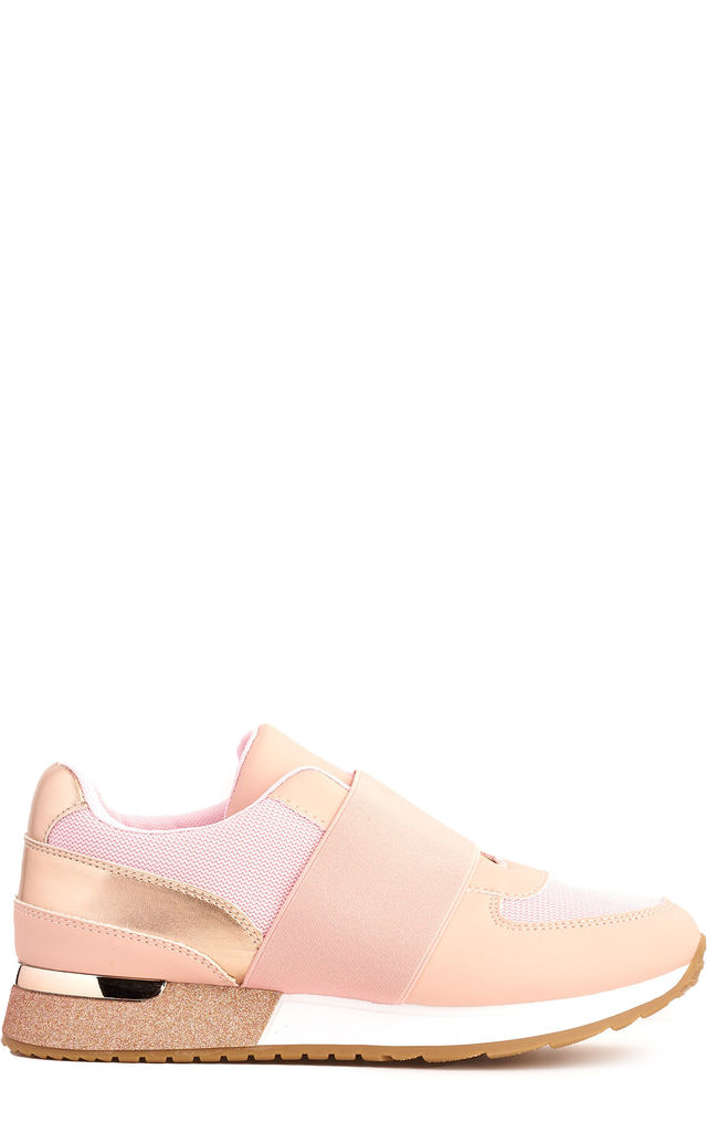 Meyeh Elastic Panel Gold Trim Trainer in Pink by Miss Diva