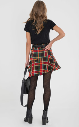 Checked Flounce Mini Skirt, Green Check by JOLIE MOI