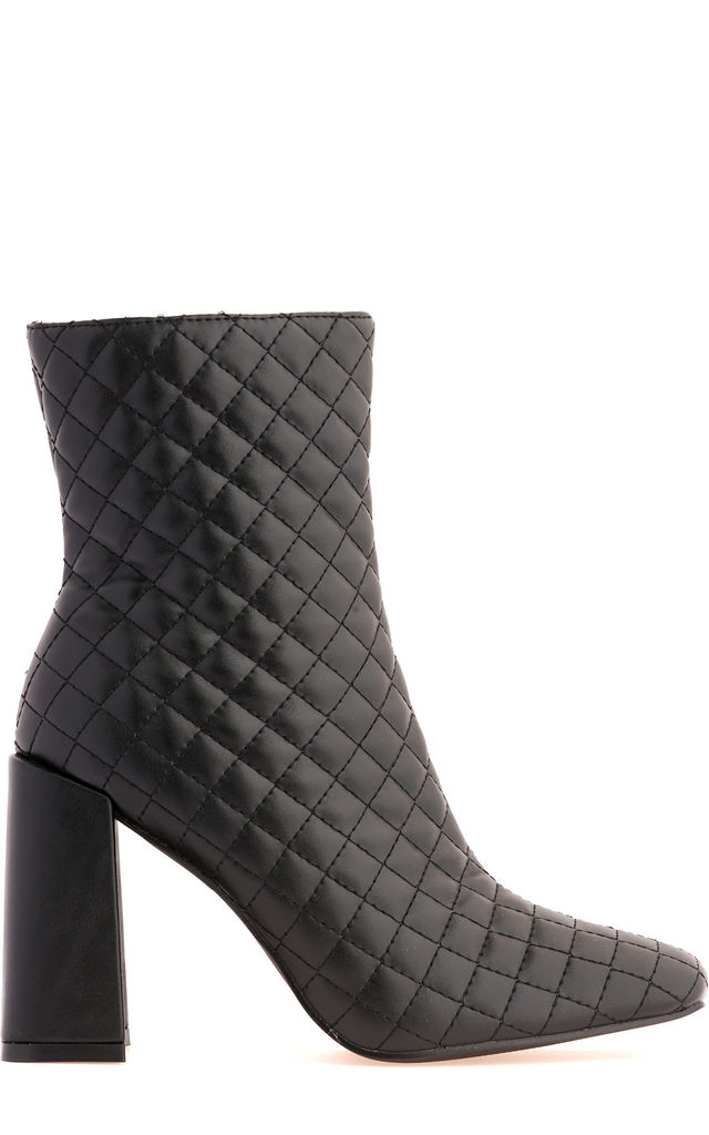 Reunion Flare Heel Quilted Boot in Black by Miss Diva