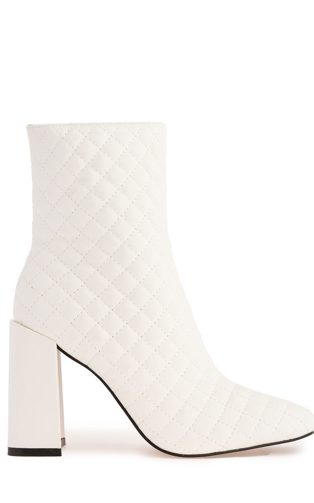 Reunion Flare Heel Quilted Boot in White by Miss Diva