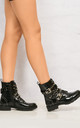 Pixxel Crossover Stud & Buckle Biker Boot In Black Croc by Miss Diva
