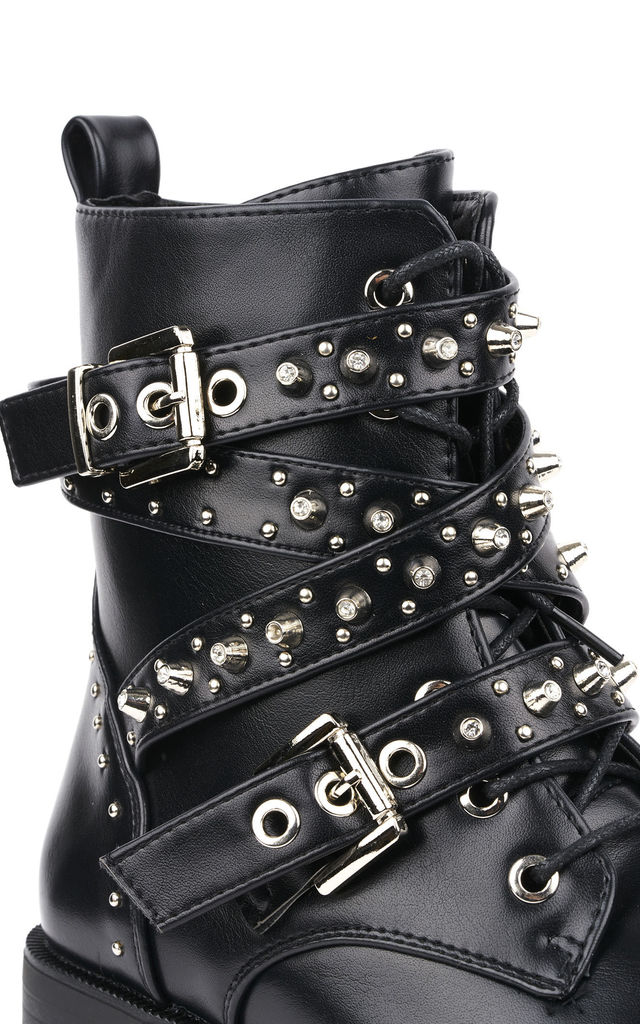 Pixxel Crossover Stud & Buckle Biker Boot In Black Matt by Miss Diva
