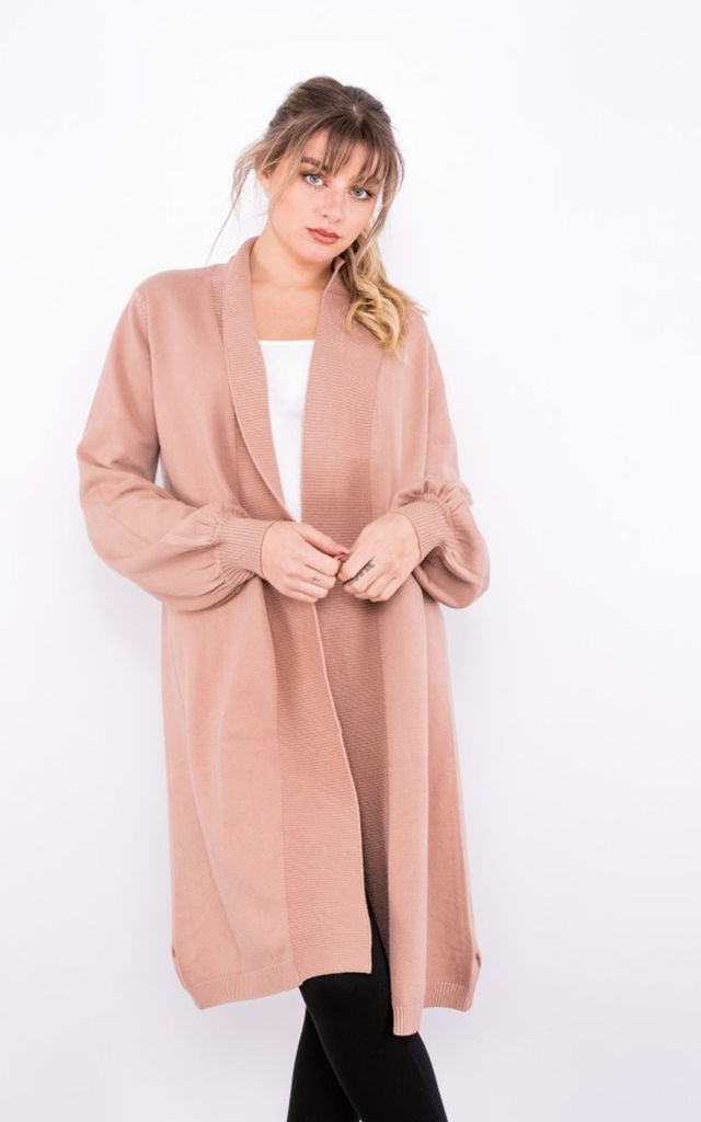 Longline cardigan with ribbed trim in dusty pink by LOES House