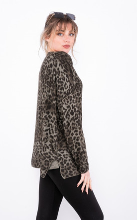 Long sleeve leopard print top in Khaki Green by LOES House