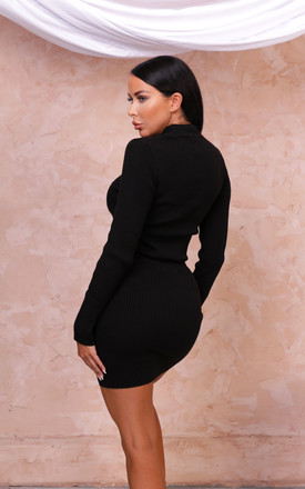 Lottie Long Sleeve Ribbed Co-ord black by Femme Luxe