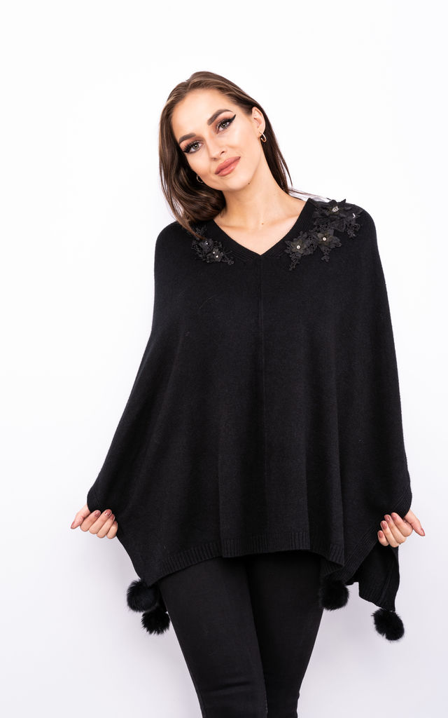 Flower Embroidered Poncho (Black) by Lucy Sparks