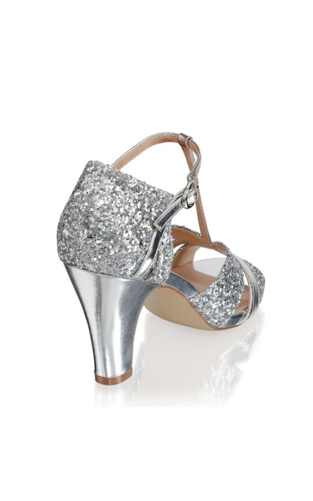 Reanne Silver Glitter Block Heel T-Bar by Paradox London