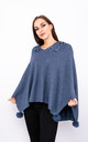 Flower Embroidered Poncho (Denim) by Lucy Sparks