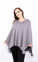 Flower Embroidered Poncho (Grey) by Lucy Sparks