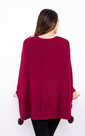 Flower Embroidered Poncho (Red) by Lucy Sparks