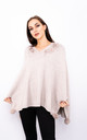 Flower Embroidered Poncho (Beige) by Lucy Sparks