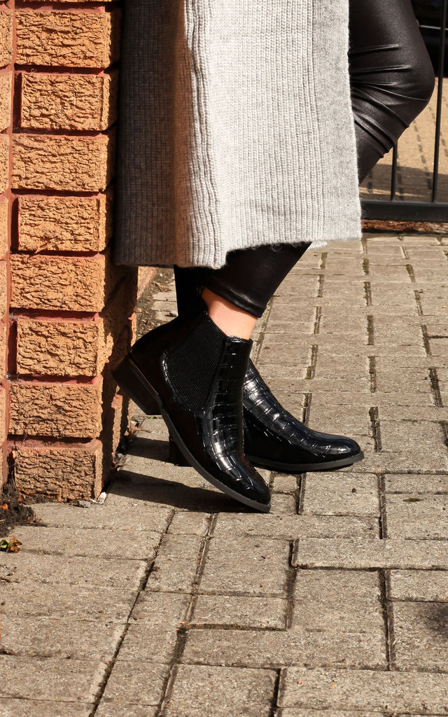 Arya Black Croc Patent Chelsea Boot With Pewter Heel Trim by Linzi
