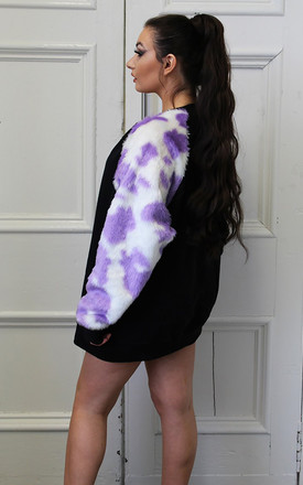 Lilac Cow Print Fluffy Sleeve by Isolated Heroes