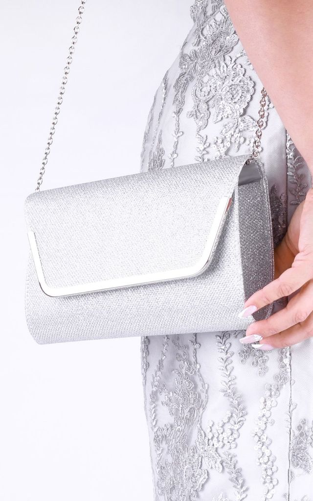 Denise Silver Glitter Mesh Clutch Bag by Paradox London