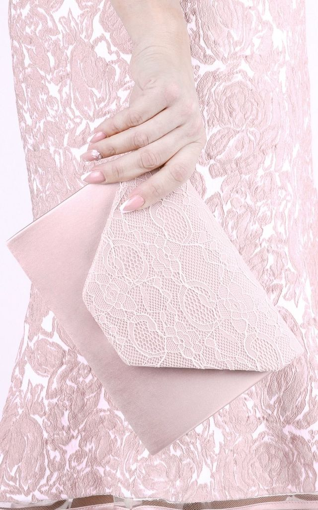 Dameka Satin And Lace Clutch Bag by Paradox London
