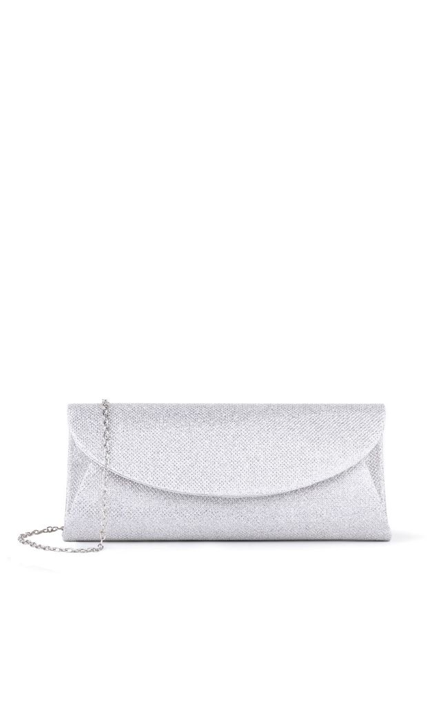 Dominique Silver Glitter Mesh Clutch Bag by Paradox London