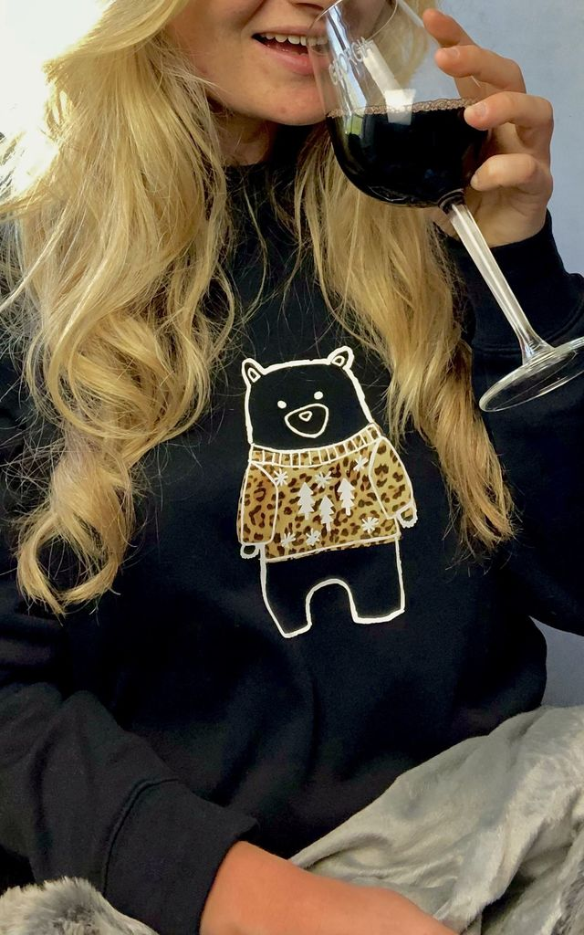 Leopard Print Christmas Bear Jumper by The Alphabet Gift Shop